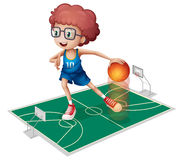 A giant player in a small court Stock Images