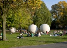 Giant Pool Balls - Muenster Germany Stock Photography