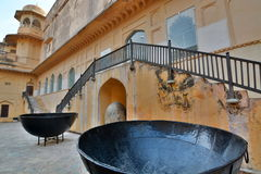 Giant pots. Amer Palace (or Amer Fort). Jaipur. Rajasthan. India Royalty Free Stock Images