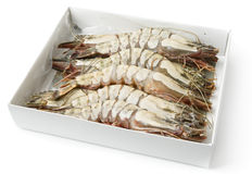 Giant prawns in retail pack, isolated on white. With smooth shadow Stock Photography