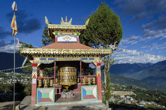 Giant prayer wheel. At monastery royalty free stock image