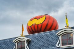 Giant pumpkin on a roof Royalty Free Stock Photography