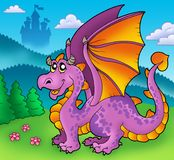 Giant purple dragon with old castle Stock Photos