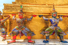 Giant Ravana beautiful. The characters in literature Thailand carrying giant golden pagoda in the temple of the Emerald Buddha , also known as the Temple of the royalty free stock images
