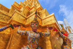 Giant Ravana beautiful pagoda. The characters in literature Thailand carrying giant golden pagoda in the temple of the Emerald Buddha , also known as the Temple Royalty Free Stock Photography
