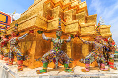 Giant Ravana beautiful pagoda 2. The characters in literature Thailand carrying giant golden pagoda in the temple of the Emerald Buddha , also known as the Royalty Free Stock Image