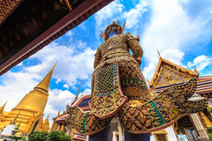 Giant Ravana. A giant statue of Ravana Temple of the Emerald Buddha Or commonly known as Wat Phra Kaew, the Temple of King Rama the Great skyline ordered. Built Stock Photo