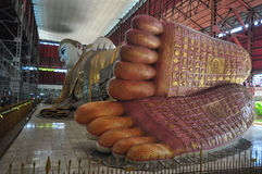 The giant reclining Buddha footprint detail shows refinement of Royalty Free Stock Photos