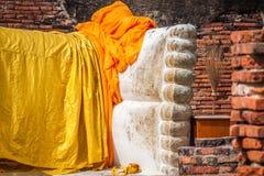 Giant reclining buddha statue feet at Wat Lokayasutharam Ayuttha Royalty Free Stock Images