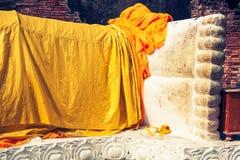Giant reclining buddha statue feet at Wat Lokayasutharam Ayuttha Stock Photos