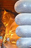 Giant reclining buddha. Statue of giant golden reclining buddha in wat pho temple in bangkok stock image