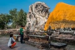 Giant reclining buddha statue Wat Lokayasutharam Ayutthaya bangk Royalty Free Stock Images