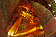 Giant Reclining buddha within the Wat Pho in Bangk Royalty Free Stock Photos