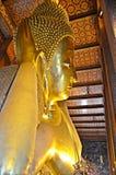 Giant reclining buddha. At wat pho in bangkok, thailand stock photography