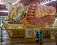Giant reclining Buddha in Yangon Stock Photography