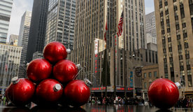 Giant red ball ornaments on 6th Avenue Royalty Free Stock Photo