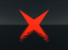Glowing red cross over water night scene. Giant cross rise out of lake or ocean. Four pointed star water reflections. Mysterious fictional landscape Sci-fi Royalty Free Stock Photos