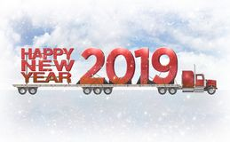 Giant Red Happy New Year 2019 On A Flatbed Truck - 3D Illustration stock images