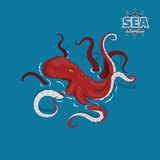 Giant red octopus on a white background. Sea monster kraken in cartoon style. Pirate game. 3d image Stock Images