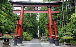 Giant red tori at hongu fuji sengen shrine Stock Photography