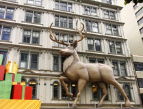 Giant reindeer on side  building Royalty Free Stock Images