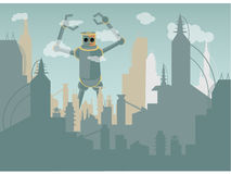 Giant Robot attacking city. Industrialized metropolis terrorized by huge robotic monster reaching the clouds Royalty Free Stock Images