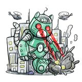 Giant Robot Cat Destroying The City. Illustration of a gigantic robot cat shooting laser beams and destroying the city Royalty Free Stock Image