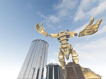 Giant robot in the city Royalty Free Stock Photos
