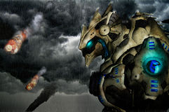 Giant robot. Illustration of giant metal robot rain and meteorites Stock Image