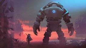 Giant robot looking at sunset sky. Giant robot and its owner looking at a ruined city at sunset, digital art style, digital painting royalty free illustration