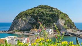 Giant rock near small village Sant`Angelo on Ischia island, Italy stock video