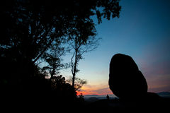 Giant rock landscape silhouette view, Thailand Stock Image