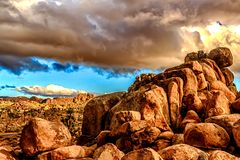 Desert Scene in Joshua Tree. Giant Rocks and other plant life growing strong in the desert under some clouds Stock Photos