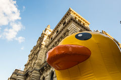 Giant rubber duck in Bilbao Stock Photos