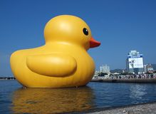 Giant Rubber Duck Visits Taiwan Royalty Free Stock Photos