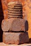 Giant rusty bolt macro Royalty Free Stock Photo