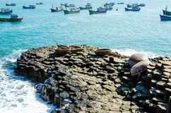 Giant's basalt Causeway with basket boats, Phu Yen Province Stock Photo