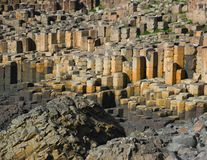 Giant's Causeway. Basalt columns - natural volcanic rock formation at the Giant's Causeway, County Antrim, Northern Ireland stock photos