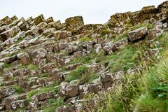 The Giant`s Causeway in County Antrim, Northern Ireland. View of The Giant`s Causeway in County Antrim, Northern Ireland stock photos