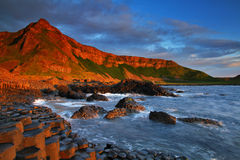 Giant's Causeway II. Sunset at Giant's Causeway, Co. Antrim, Northern Ireland Stock Images