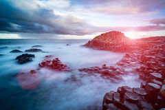 The Giant`s Causeway in the morning. The Giant`s Causeway in the morning, Northern Ireland stock photo