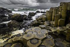 Giant`s Causeway in Northen Ireland. Giant`s Causeway is located in County Antrim on the north coast of Northern Ireland. The Giant`s Causeway is an area of stock photography