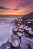 The Giant's Causeway in Northern Ireland at sunset Stock Photo