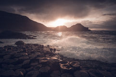 Giant`s Causeway, Northern Ireland. Giant`s Causeway is a tourist hot spot in the Northern Ireland. The area is a geological curiosity built up by interlocking stock image