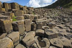 The Giant`s Causeway in Northern Ireland stock images
