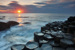 Giant's Causeway. Sunset at Giant's Causeway , Antrim, Northern Ireland Royalty Free Stock Photo