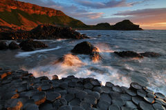 Giant's Causeway. Sunset at Giant's Causeway, Co. Antrim, Northern Ireland Royalty Free Stock Photography