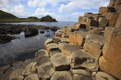 The Giant' s Causeway. Ulster Ireland, - July 20, 2016: Polygonal basalt lava rock columns of the Giant`s Causeway on the north coast of County Antrim stock photography