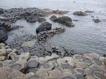 Giant's Causway Ireland. In the rain stock photo