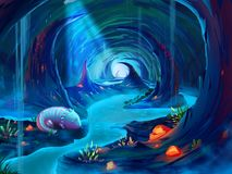The Giant Salamander in the Cave with Fantastic, Realistic and Futuristic Style. Video Game`s Digital CG Artwork, Concept Illustration, Realistic Cartoon Style royalty free illustration